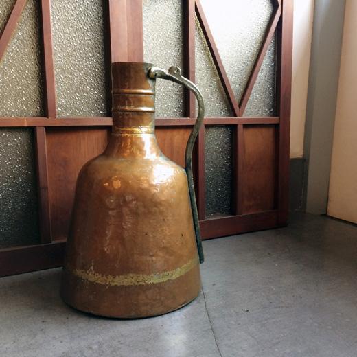 銅製、ピッチャー、水差し、ブロカント、アンティーク、コッパー、クラフト、プリミティブ