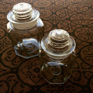 ガラス保存瓶、ガラスキャニスター、アンティークガラス、ガラス瓶