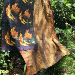 クメールシルク、絹織物、カンボジア、伝統工芸、織物、ヴィンテージ、イカット