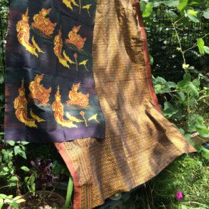 古布、アンティーク、イカット、絹絣、クメールシルク、シルク、絹織物、カンボジア、伝統織物