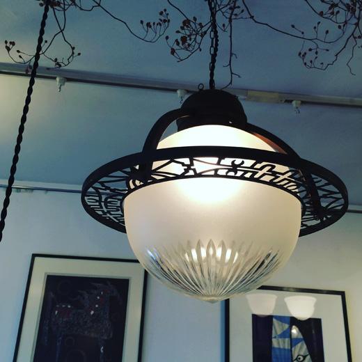 アンティークランプ、アールデコ、戦前ランプ、アンティークガラス、洋館、クラシックモダン