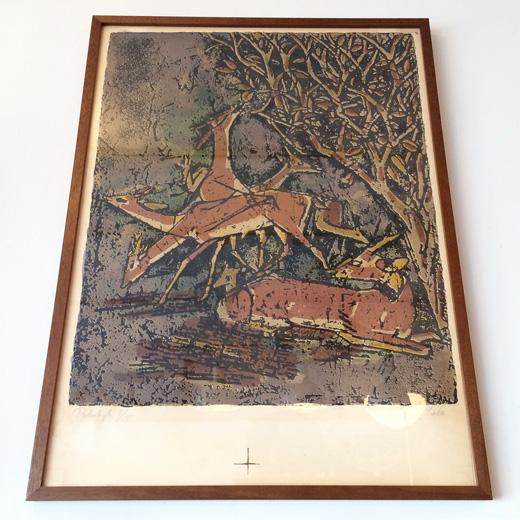 アクセルサルト、リトグラフ、森の中の鹿、アールデコ、モダンアート、版画、北欧ヴィンテージ、axelsalto