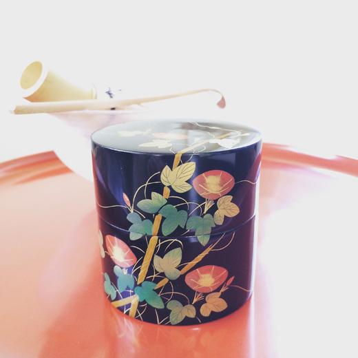 茶道具、棗、漆器.蓋物.朝顔.古道具.しつらえ.蒔絵.asagao.natsume.vintage.lacquer.lapanesecraft