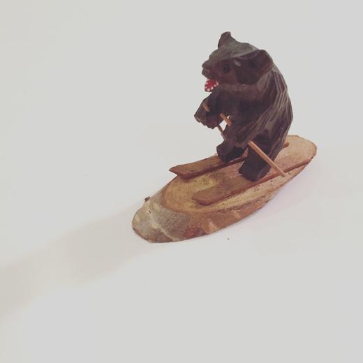 木彫りの熊、スキーヤー、民芸、ヴィンテージクラフト