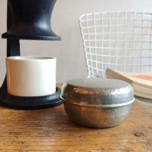 やんぽ、菓子器、ボンボニエール、錫製、錫半、骨董、古道具、ヴィンテージ、携帯菓子器