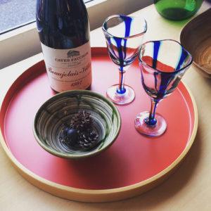 浅原千代治、小樽、吹きガラス、ワイングラス、源氏物語、桐箱入り