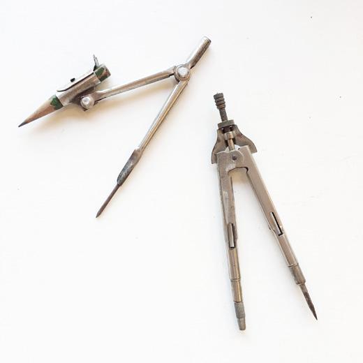 古道具、古い、コンパス、文房具、製図道具、筆記具