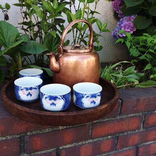 中川浄益、銅の薬缶、茶道具、欅盆、河本礫亭、湯呑、工芸、和食器、茶のしつらえ