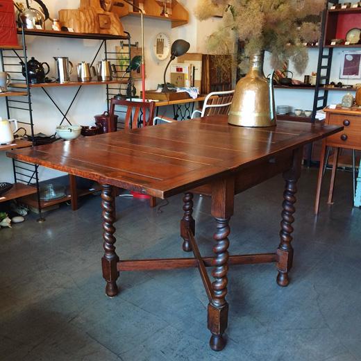 英国アンティーク、ドローリーフテーブル、ツイストレッグ、ダイニングテーブル