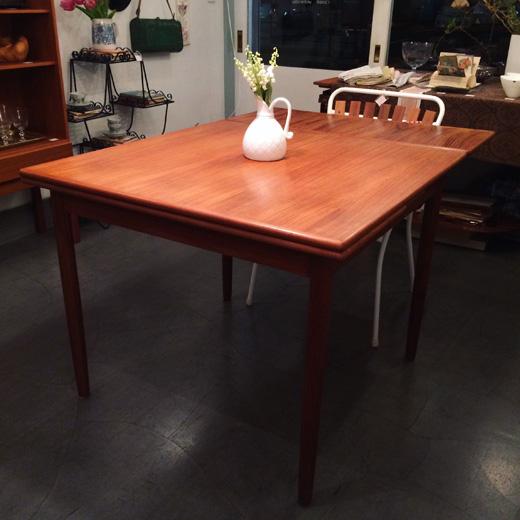 チークダイニングテーブル、ドローリーフテーブル、エクステンションテーブル、ヴィンテージ家具、北欧、モダン