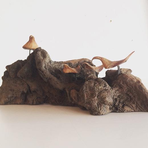 流木アート、木工作品、ヴィンテージ、鳥、モダン、1978