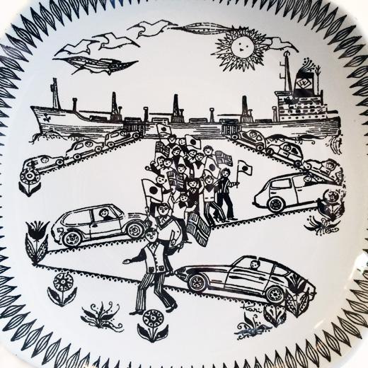 北欧ヴィンテージの絵皿、フィッジョ、ウォールプレートfiggio.vintageplate