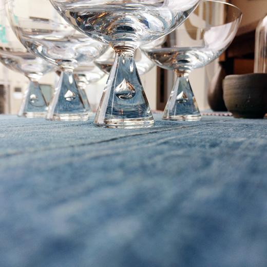 北欧ヴィンテージ食器、ガラス器、ホルムガード、プリンセス、グラス、シャーベットグラス、雫