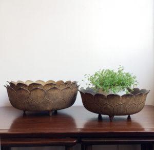 蓮入れ子水盤、盆栽鉢、花器、ヴィンテージ、器、銅器