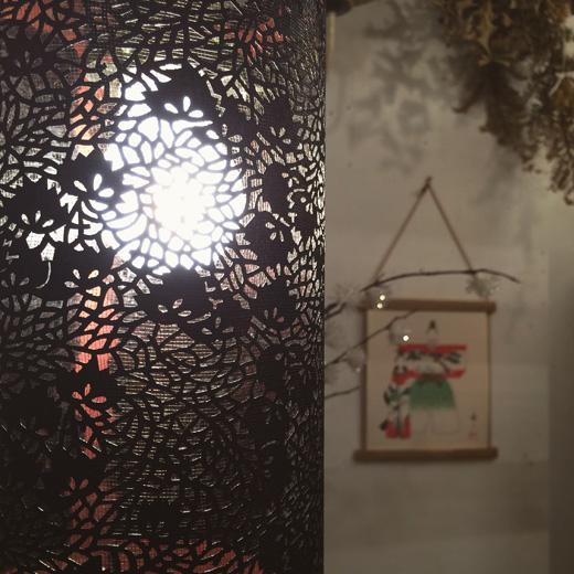 伊勢型紙、型染、切り絵、透かし、ランプシェード、リメイク、ヴィンテージ照明、和モダン