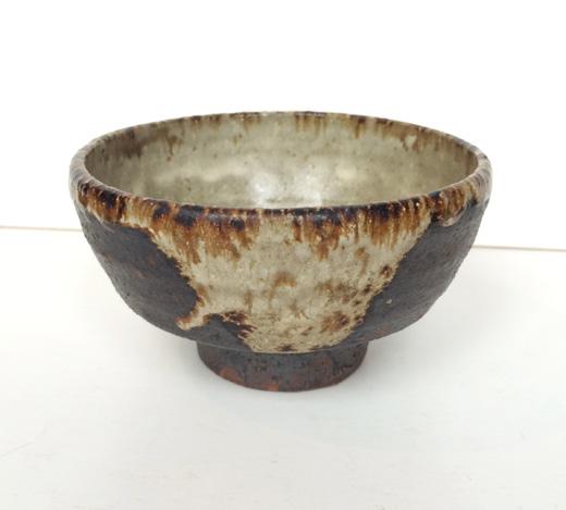 茶碗、みかも焼小楢窯、川原井文次郎