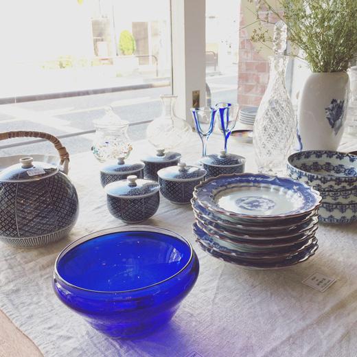 ヴィンテージ、和食器、夏の器、青白、染付け、和ガラス