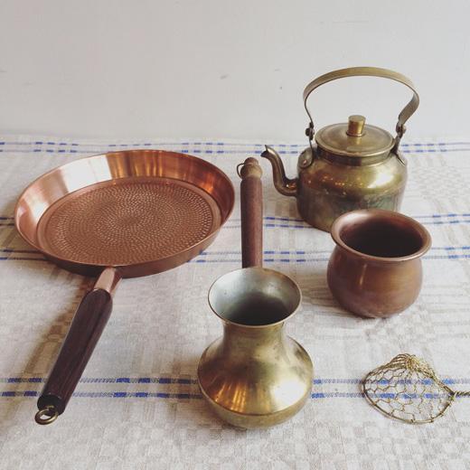北欧ヴィンテージ、キッチンウェア、真鍮、銅、フライパン、ケトル、モダンクラフト