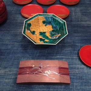 骨董、ヴィンテージ、工芸、九谷焼、山水深鉢、漆工芸、匣、水内杏平、器