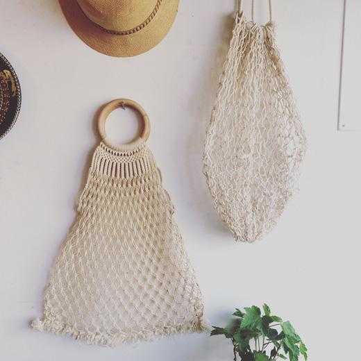 ヴィンテージ、マクラメバッグ、編みバッグ、ロープ編み、ハンドメイド、サマーバッグ