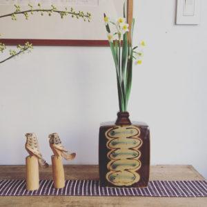 益子焼、一輪挿し、ヴィンテージ、伝統工芸、水仙、新春