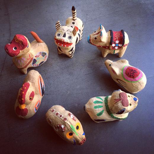 三春張子、佐久間喜善、干支もの、郷土玩具、民芸、張り子