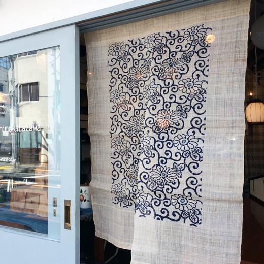 麻のれん、暖簾、型染、民芸、クラフト、藍、唐草模様