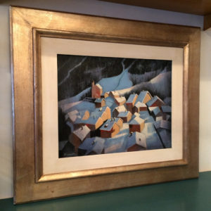 油彩、絵画、雪景色、聖夜、作者不明