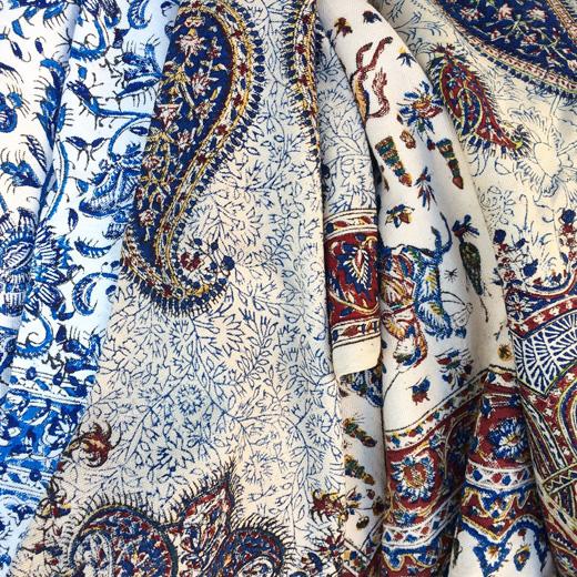 ペルシャ更紗、イラン製、ブロックプリント、ハンドクラフト、民芸、ペイズリー柄