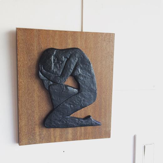 レリーフ、彫刻、植木力、沐浴、少女像、ブロンズ、壁掛け