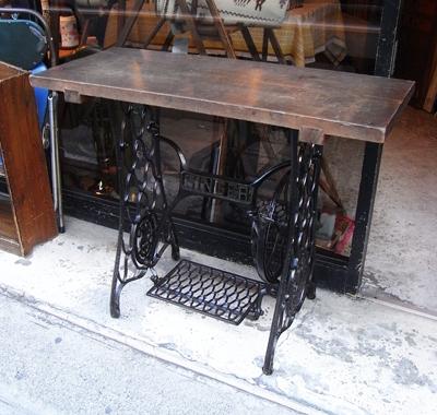 シンガーミシン、テーブル、リメイクテーブル、鉄脚、古材remaketable
