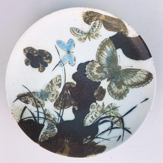 北欧ヴィンテージ、ロイヤルコペンハーゲン、ニルストーソン、絵皿、ウォールプレート、蝶々、バッカ、ダイアナ、モダンデザイン、花鳥風月