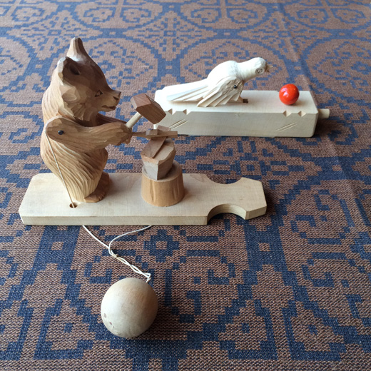 ロシア雑貨、ヴィンテージ、木のおもちゃ、木彫り熊、知育玩具