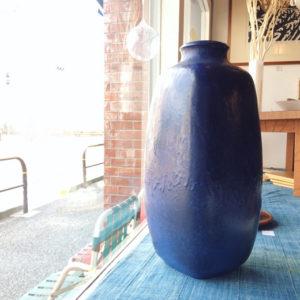北欧陶器、北欧ヴィンテージ、フラワーベース、瑠璃色、青釉、大花瓶、knabstrup、sweden