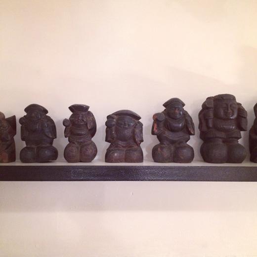 福の神、七福神、恵比寿大黒、骨董、アンティーク、木彫、縁起物、飾り物