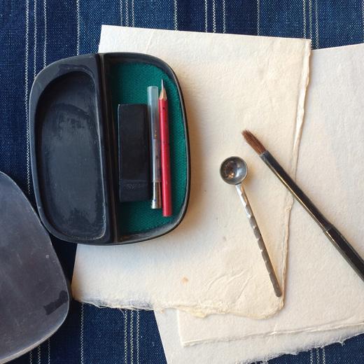 書道具、書道セット、携帯用、硯、写経、古道具、ヴィンテージ雑貨