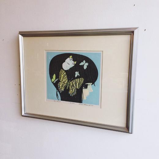 池田修三、木版画、1974年、ぎふちょう、少女横顔、蝶