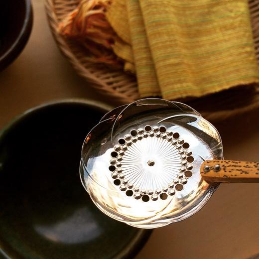 純銀、湯豆腐すくい、おかきスプーン、竹柄杓子、梅の花、銀細工、工芸、ヴィンテージ、シルバースプーン