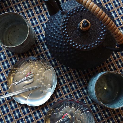 純銀、鶴丸、菓子皿、菓子楊枝、鉄瓶、和モダン、モダンクラフト、銀製品、アンティーク、骨董
