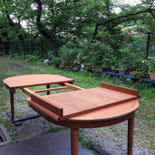 ヴィンテージ家具、チークダイニングテーブル、エクステンションテーブル、北欧、モダン、日本製