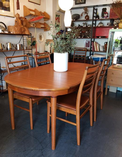 ヴィンテージ家具、チークダイニングセット、北欧インテリア、北欧モダン