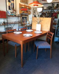 チークダイニングセット、北欧モダン、ヴィンテージ家具、ダイニングテーブル、チェア、日本製
