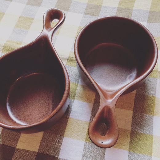 プリミティブなヴィンテージ陶器片手鍋