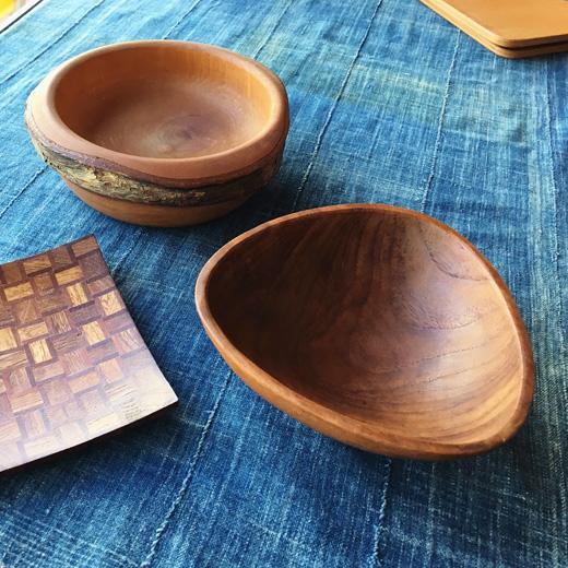 木製、ヴィンテージ食器、ウッドプレート、ウッドボウル、組み木細工、チークボウル、ナチュラルモダン