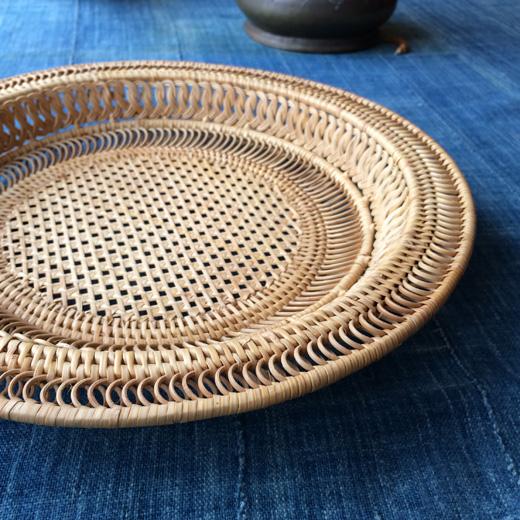 ヴィンテージバスケット、竹かご、竹工芸、ハンドクラフト、ベトナム製、バスケットトレイ