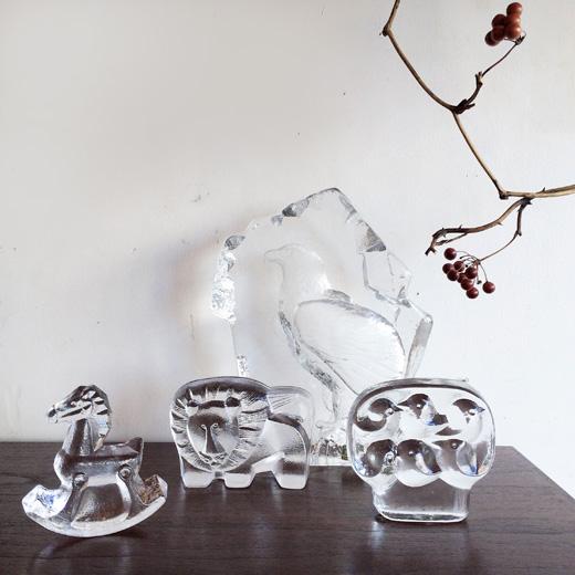北欧ヴィンテージ、ガラス、ガラスバード、イッタラ、ガラスの動物、ヴィンテージ雑貨
