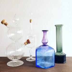 北欧ガラス、ヴィンテージガラス、コスタボダ、bertilvallien、グラッパボトル、フラワーベース、ガラス器