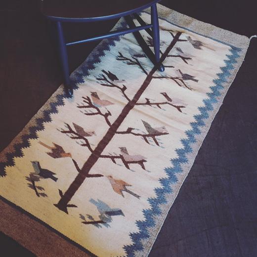 ヴィンテージラグ、タペストリー、北欧スタイル、鳥モチーフ