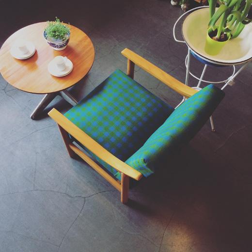 ヴィンテージ家具、ソファ、イージーチェア、レトロモダン、チェック柄