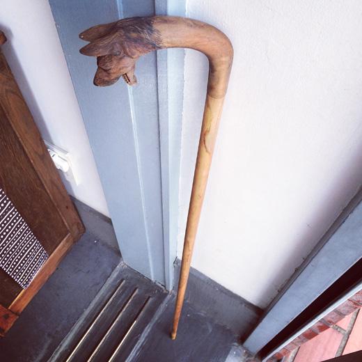 ヴィンテージステッキ、杖、木彫り犬、シェパード